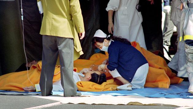 Opfer des Giftgas-Anschlags auf die U-Bahn in Tokio am 20. März 1995 (Bild: AFP)