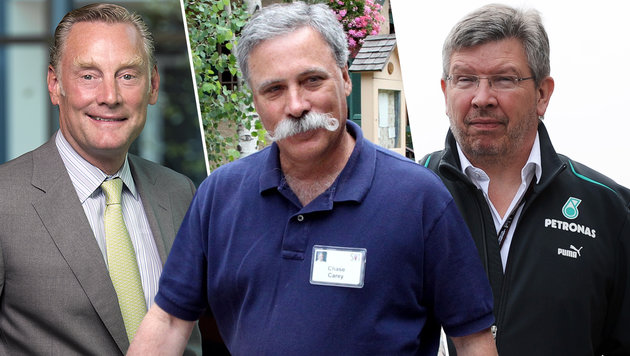 Sean Bratches, Chase Carey und Ross Brawn (Bild: ESPN, AP, GEPA)