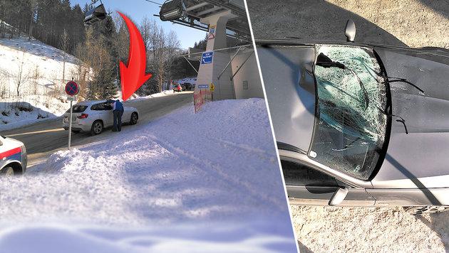 Aus diesem Sessellift stürzte die Ungarin auf das Auto. (Bild: Alpinpolizei Hochsteiermark)