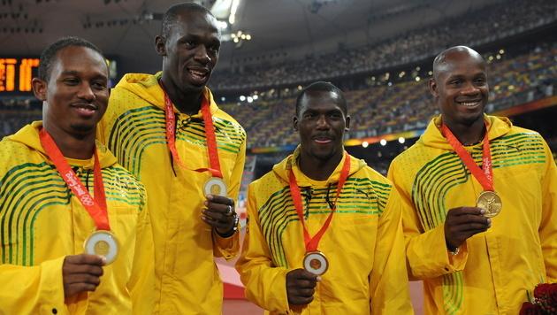 Die Staffel: Michael Frater, Usain Bolt, Nesta Carter und Asafa Powell (Bild: AFP)