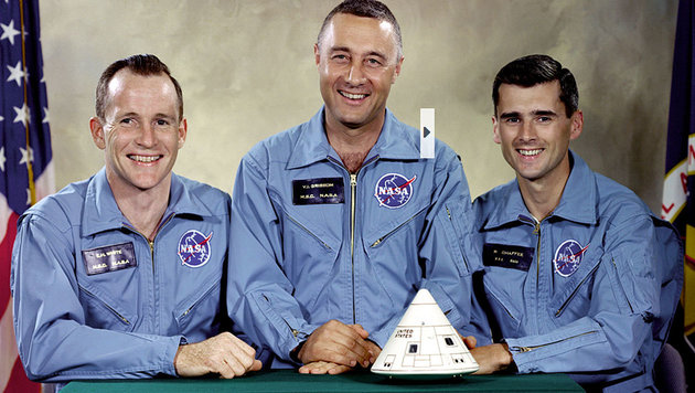 "(v.l.n.r.) Edward H. White II, Virgil I. ""Gus"" Grissom und Roger B. Chaffee (Bild: Johnson Space Center)"