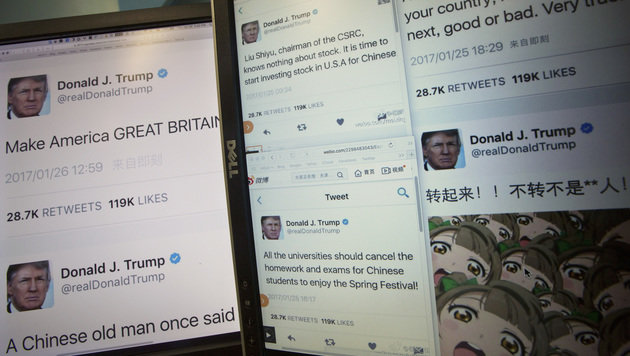 Mittels Websites wie faketrumptweet.com lassen sich ganz einfach Tweets fälschen. (Bild: AP)