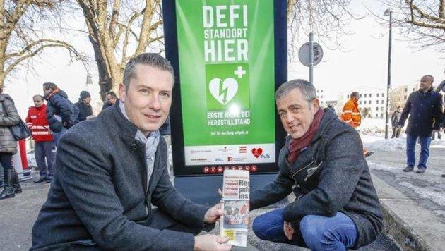 Super-Screen in der Stadt:Initiatoren Dominik Sobota und Fred Kendlbacher,Progress Werbung (Bild: Markus Tschepp)