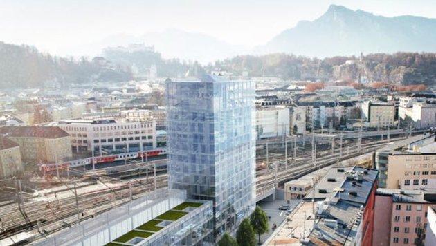 Der Perron-Turm in der Rainerstraße wird mit seinen 54 Metern das zweithöchste Gebäude der Stadt (Bild: Antonio Lovric)