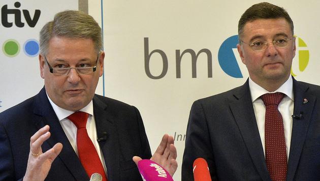Umweltminister Andrä Rupprechter und Verkehrsminister Jörg Leichtfried (Bild: APA/HERBERT PFARRHOFER)