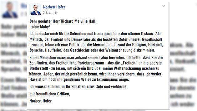 "Moby ""entschuldigt"" sich auf Facebook bei Hofer (Bild: facebook.com/Norbert Hofer)"