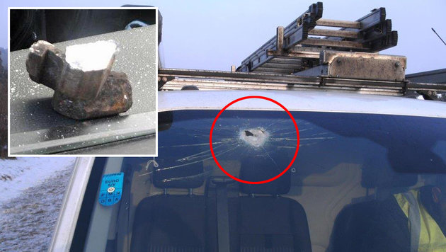 Metallteil donnerte auf A2 gegen Windschutzscheibe (Bild: Polizei)