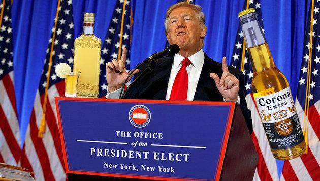 Trump will Strafzoll auf Produkte aus Mexiko (Bild: AP (Archivbild), Wikipedia, thinkstockphotos.de)