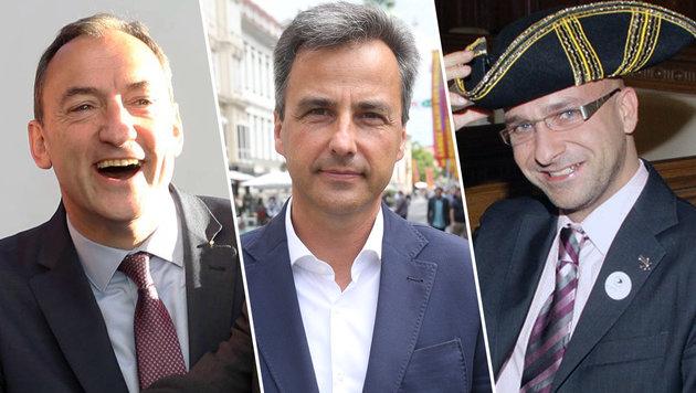 v.l.n.r.: Mario Eustacchio (FP), Stadtchef Siegfried Nagl (VP) und Philip Pacanda (Piraten) (Bild: Jürgen Radspieler, Sepp Pail, CHRISTIAN JAUSCHOWETZ)