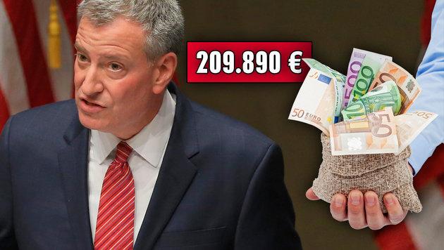Bill de Blasio, Bürgermeister von New York, kassiert 209.890 Euro pro Jahr. (Bild: AP, thinkstockphotos.de)