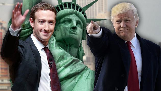 Facebook-Chef Zuckerberg stellt sich gegen Trump (Bild: thinkstockphotos.de, AFP/MANDEL NGAN, AP/Esteban Felix)