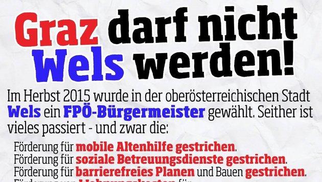 Zweifelhafte Berühmtheit erlangt Wels gerade im Grazer Stadt-Wahlkampf. Die Welser FPÖ ist sauer. (Bild: Krone)