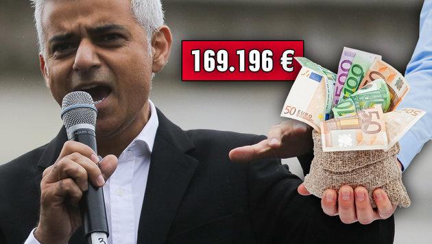 Sadiq Khan, Londons Stadt-Chef, verdient 169.196 Euro p.a. (Bild: AFP/DANIEL LEAL-OLIVAS, thinkstockphotos.de)