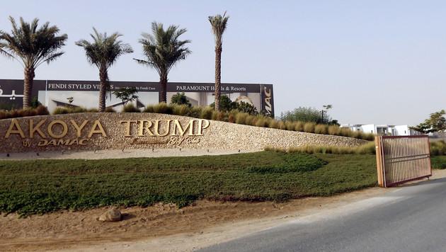 Die Einfahrt zu einer Trump-Luxuswohnsiedlung in den Vereinigten Arabischen Emiraten (Bild: AFP)