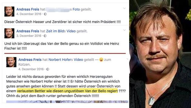 Widerliche Hass-Postings von FPÖ-Mann gegen VdB (Bild: twitter.com, facebook.com)