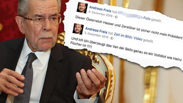Widerliche Hass-Postings von FPÖ-Mann gegen VdB (Bild: zwefo, facebook.com)