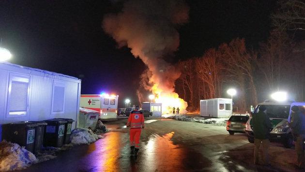 Mazedonischer Reisebus bei Salzburg ausgebrannt (Bild: BRK BGL)
