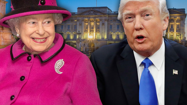 1.000.000 Briten wollen Queen Trump ersparen (Bild: AP, thinkstockphotos.de, AFP/ARTHUR EDWARDS)