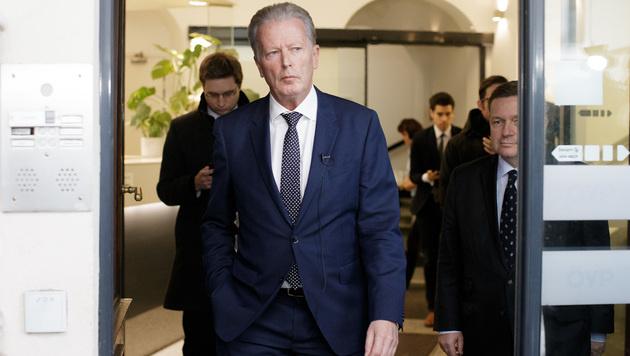ÖVP-Chef Reinhold Mitterlehner nach der Vorstandssitzung (Bild: APA/GEORG HOCHMUTH)