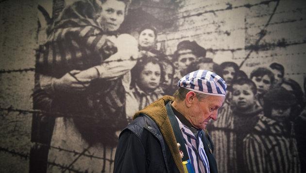 Ein Holocaust-Überlebender in der Gedenkstätte Auschwitz (Bild: AFP)