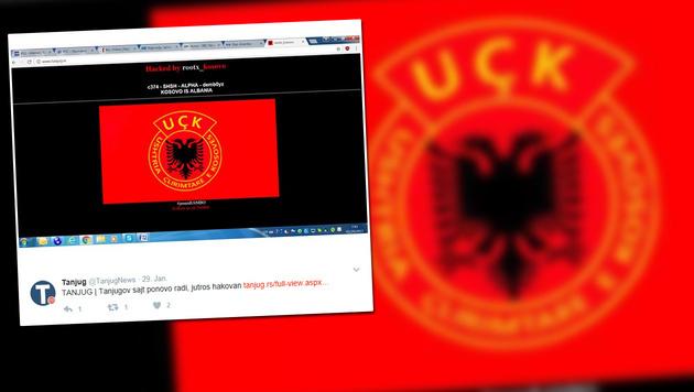 Hacker legten serbische Nachrichtenagentur lahm (Bild: twitter.com/tanjugnews, krone.at-Grafik)