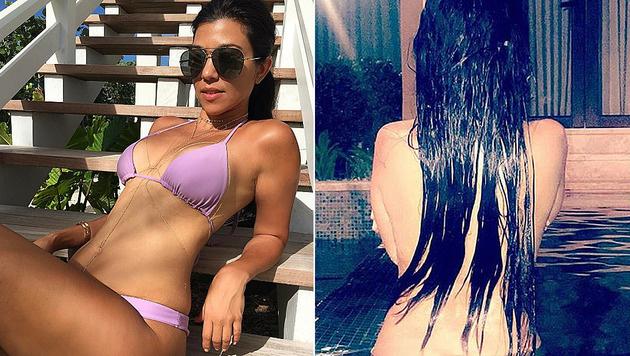 Kourtney Kardashian badete splitternackt im Familienurlaub. (Bild: instagram.com/kourtneykardash)