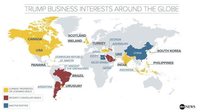Hat Trump Länder wegen Geschäften verschont? (Bild: ABC News)