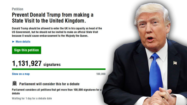 1.000.000 Briten wollen Queen Trump ersparen (Bild: AP, parliament.uk)