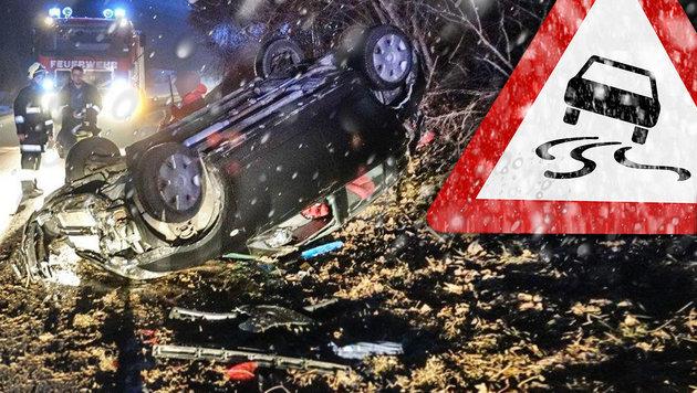 Blitzeis: Unfallserie auf spiegelglatten Straßen (Bild: Einsatzdoku.at, thinkstockphotos.de)