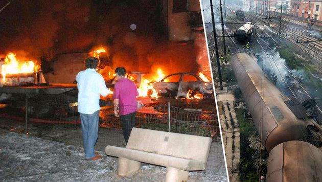 Die Explosion des ausgetretenen Gases löste in Viareggio einen Großbrand aus. 32 Menschen starben. (Bild: AFP/Vigili del Fuoco, AFP/STR)