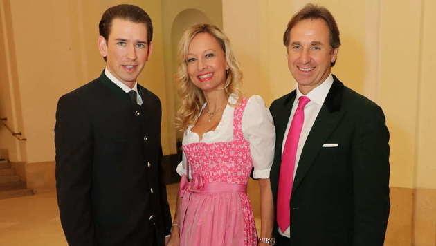 Stammgäste in der Hofburg: Sebastian Kurz, Elisabeth Kawan und Mario Plachutta (v.l.n.r.) (Bild: Starpix/Alexander TUMA)