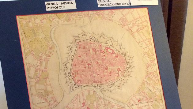 Wien-Plan mit Stadtmauer aus Jahr 1706 entdeckt (Bild: APA/Gerald Mackinger)