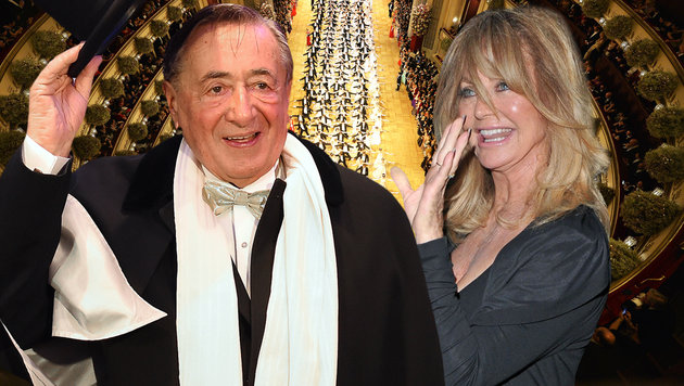 Richard Lugner bringt Goldie Hawn zum Opernball. (Bild: APA/HERBERT NEUBAUER, APA/HERBERT P. OCZERET, face to face)