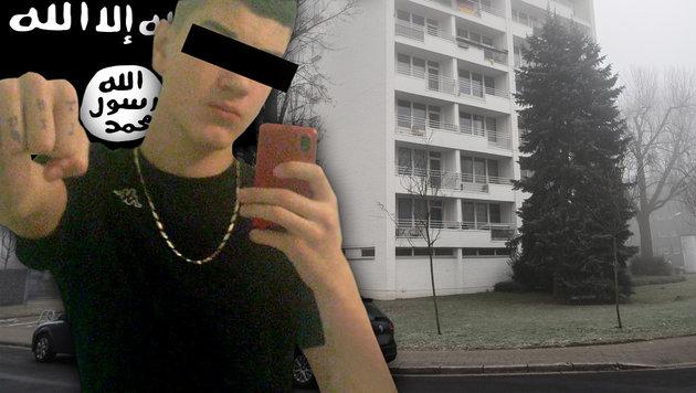 "Der Wiener Teenie-Islamist Lorenz K. (Bild: APA/dpa/Federico Gambarini, ""Krone"", Wikipedia)"