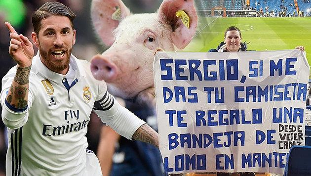 Sergio Ramos gibt letztes Hemd für Schweinsrücken! (Bild: APA/dpa/Uwe , AFP, Twitter.com)
