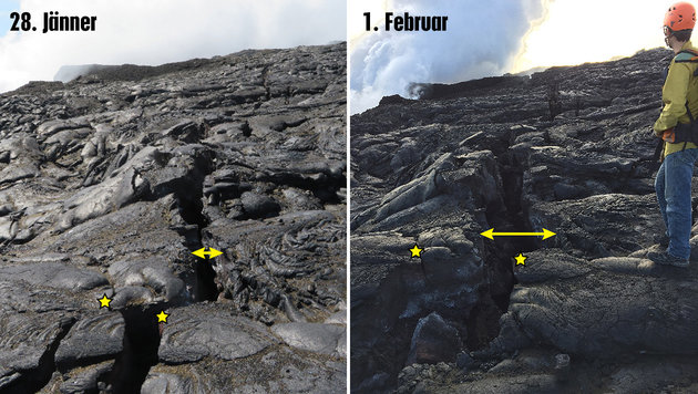 Hawaii: Lavastrom ergießt sich von Klippe ins Meer (Bild: U.S. Geological Survey/Hawaiian Volcano Observatory)
