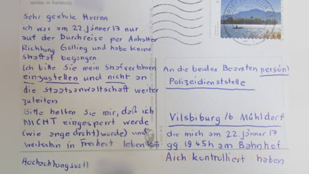 Bayern: Österreichische Postkarte amüsiert Polizei (Bild: Facebook.com)