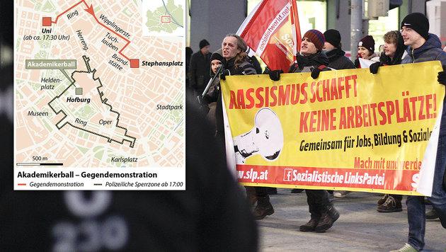 Die Grafik zeigt die geplante Route der letzten verbliebenen Demogruppe und das gesperrte Areal. (Bild: APA/ERWIN SCHERIAU, APA)