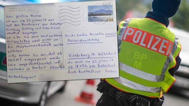 Bayern: Österreichische Postkarte amüsiert Polizei (Bild: APA/dpa/Matthias Balk, facebook.com)