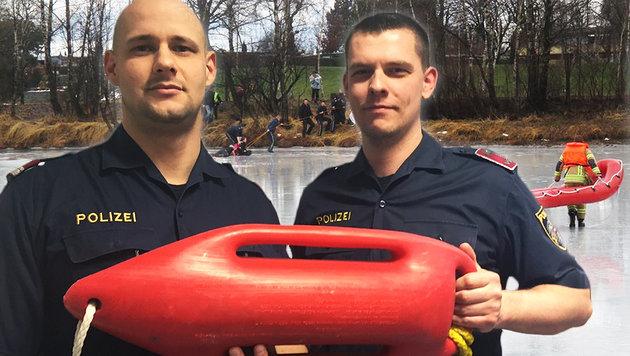 Die Retter Bernhard Martin und Markus Süß (Bild: Freiwillige Feuerwehr Höchst, Polizei)