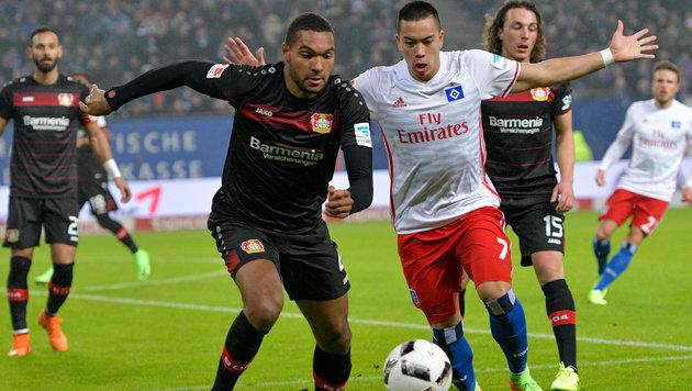 1:0! Hamburger SV gewinnt Krimi gegen Leverkusen (Bild: APA/dpa/Axel Heimken)