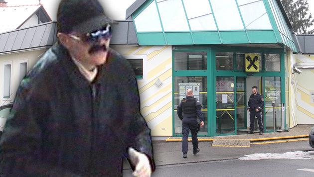 Diese als Mann verkleidete Frau überfiel die Bank in Graz. (Bild: Polizei, Christian Jauschowetz)