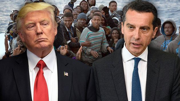 "Kern: ""USA mitschuld an Flüchtlingskrise"" (Bild: AP/Emilio Morenatti, AFP/JOHN THYS, AP/Susan Walsh)"