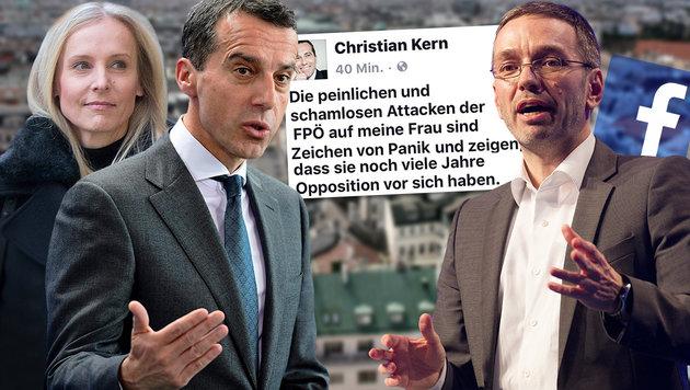 Der Bundeskanzler verteidigt seine Gattin Eveline gegen Kickls Attacken. (Bild: APA, AFP, thinkstockphotos.de, facebook.com)