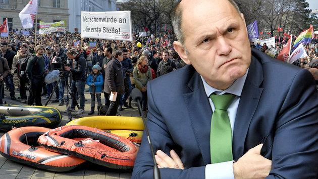 Wilde Attacken gegen Sobotkas Demo-Stopp (Bild: APA/Roland Schlager, APA/Herbert Neubauer)