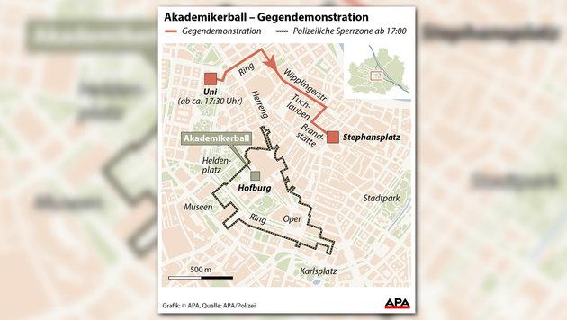 Akademikerball: 2800 Gegner zogen durch City (Bild: APA Grafik)