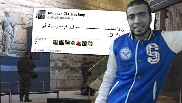 Louvre-Terrorist bekannte sich auf Twitter zum IS (Bild: AP, Twitter.com)
