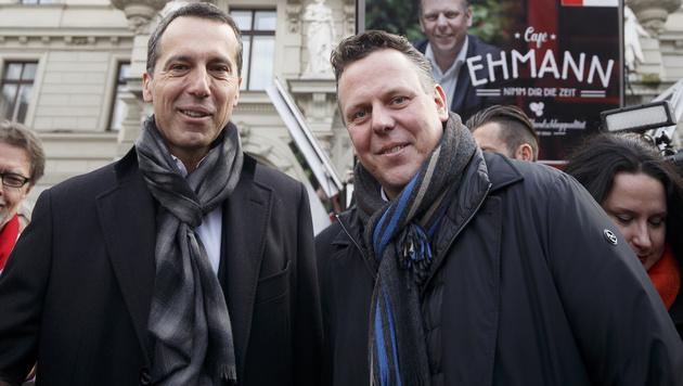 Stadtrat Michael Ehmann (SPÖ) erhielt am Samstag Unterstützung von Bundeskanzler Christian Kern. (Bild: APA/Erwin Scheriau)