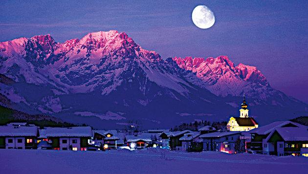 Der Wilde Kaiser im Mondlicht. (Bild: Ferienregion Wilder Kaiser)
