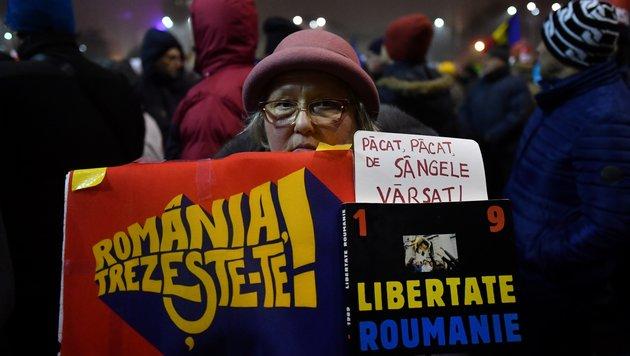 Rumänien: Proteste gegen Regierung gehen weiter (Bild: AFP)